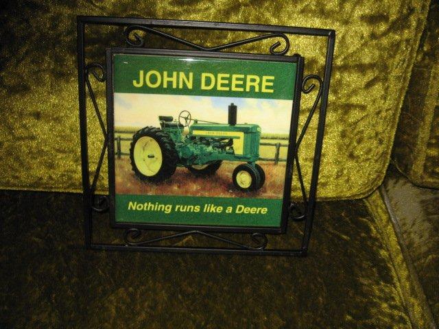 John Deere ceramic trivet