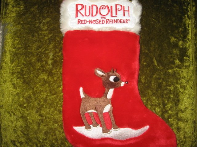 Image 0 of Rudolph red nosed reindeer musical 17 inch plush Christmas stocking
