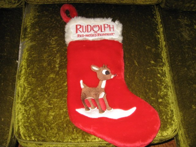Image 2 of Rudolph red nosed reindeer musical 17 inch plush Christmas stocking