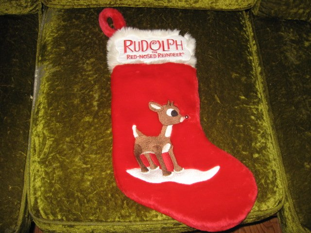Image 3 of Rudolph red nosed reindeer musical 17 inch plush Christmas stocking