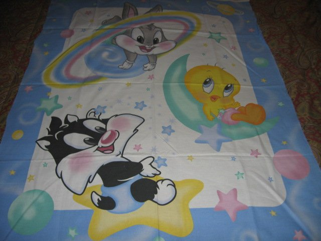 Image 0 of Tweety Bugs Sylvester baby Looney Tunes cotton fabric crib or wall panel to sew