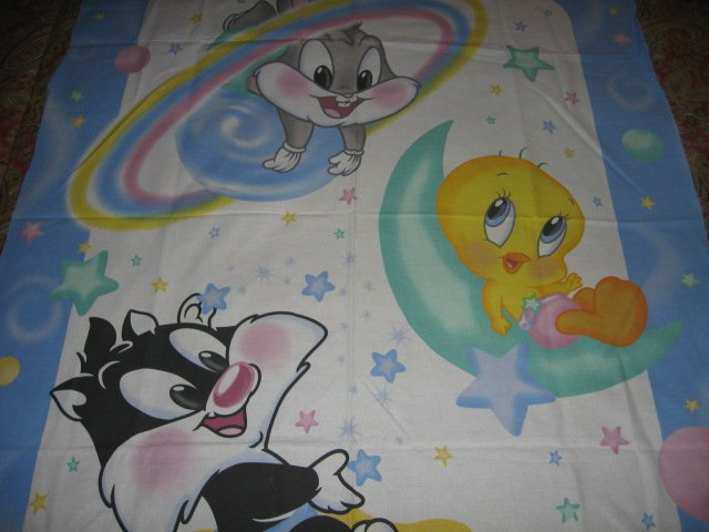 Image 1 of Tweety Bugs Sylvester baby Looney Tunes cotton fabric crib or wall panel to sew