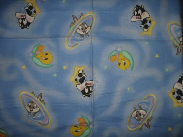 Image 0 of Tweety Bugs Sylvester in space baby Looney Tunes cotton fabric piece