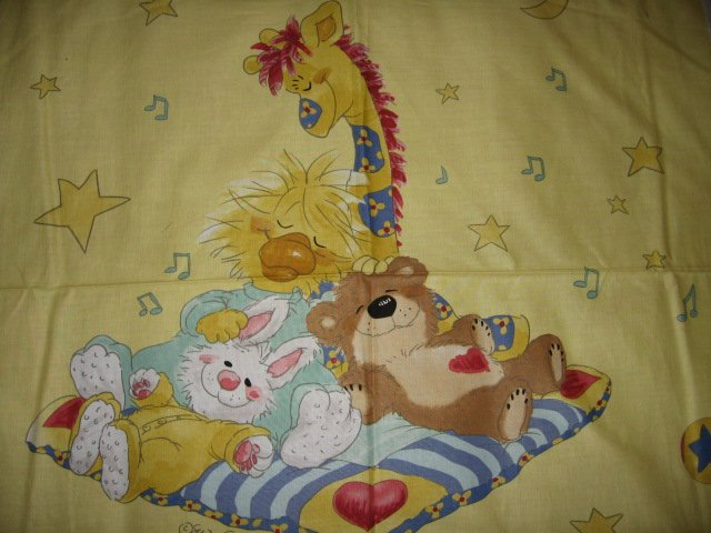Crib Yellow  Fabric panel Licensed Suzy's Zoo Witzy Duck and Friend to sew RARE!