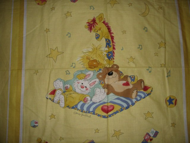 Image 1 of Crib Yellow  Fabric panel Licensed Suzy's Zoo Witzy Duck and Friend to sew RARE!