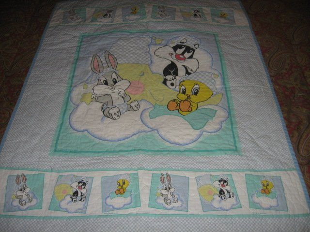 Image 1 of Tweey Bugs Sylvester cloud baby Looney Tunes crib quilt gently used out of print