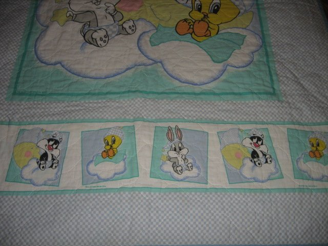 Image 2 of Tweey Bugs Sylvester cloud baby Looney Tunes crib quilt gently used out of print