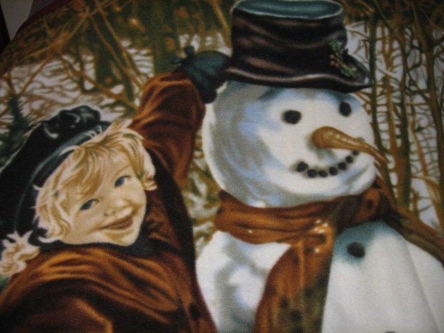 Image 1 of vintage look child and snowman fleece blanket bird rabbit Rare