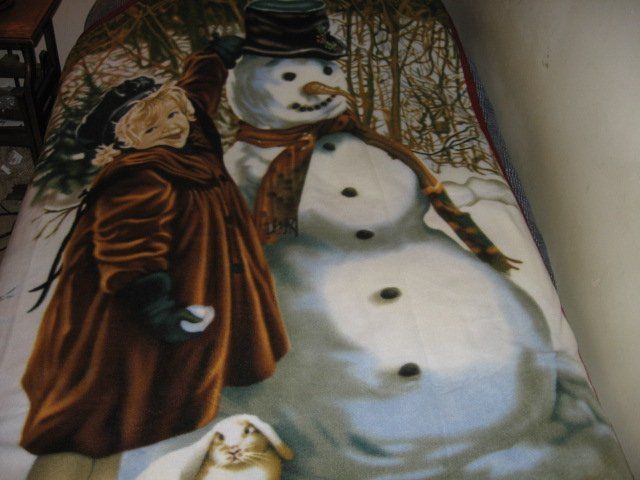 Image 0 of vintage look child and snowman fleece blanket bird rabbit Rare