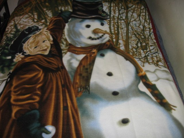 Image 2 of vintage look child and snowman fleece blanket bird rabbit Rare