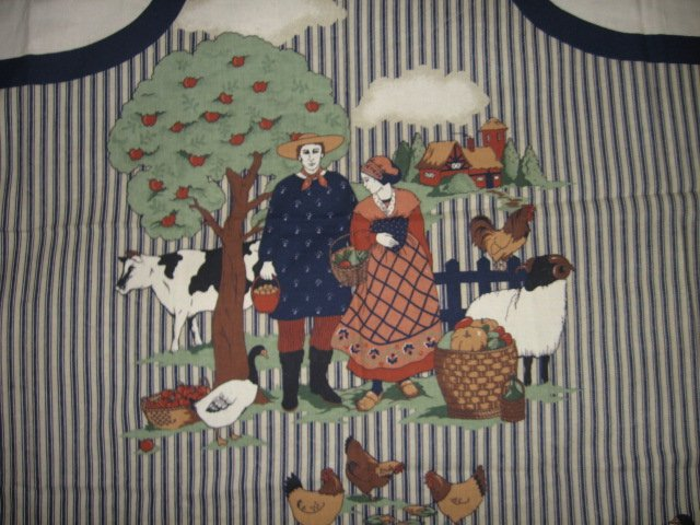 Image 1 of French country vintage farm animal apron cotton fabric panel to sew