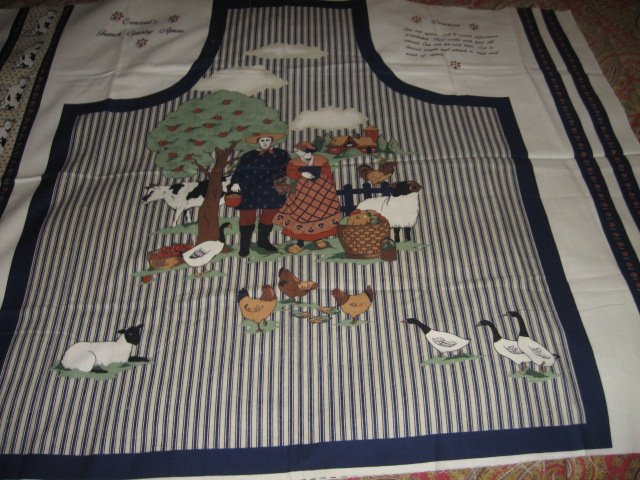 Image 3 of French country vintage farm animal apron cotton fabric panel to sew