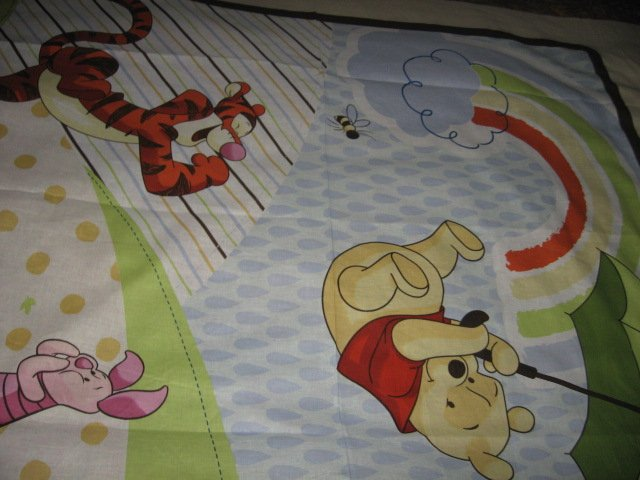 Image 1 of Disney Piglet Tigger Pooh umbrella cotton fabric windy day wall panel to Sew
