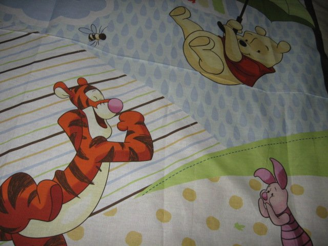 Image 3 of Disney Piglet Tigger Pooh umbrella cotton fabric windy day wall panel to Sew