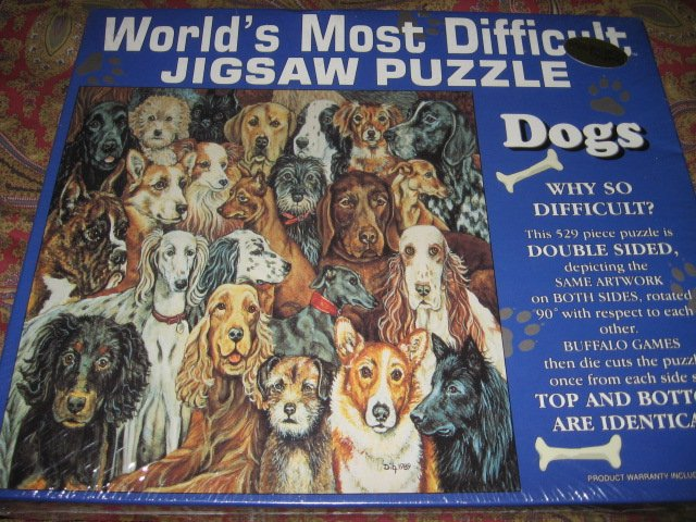 world's most difficult piece puzzle  529 pieces Dogs 15 by 15 double sided