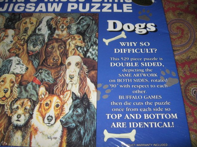 Image 3 of world's most difficult piece puzzle  529 pieces Dogs 15 by 15 double sided