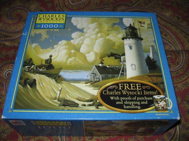 Image 1 of Lighthouse Charles Wysocki 1000 piece puzzle 22 X 25 inch