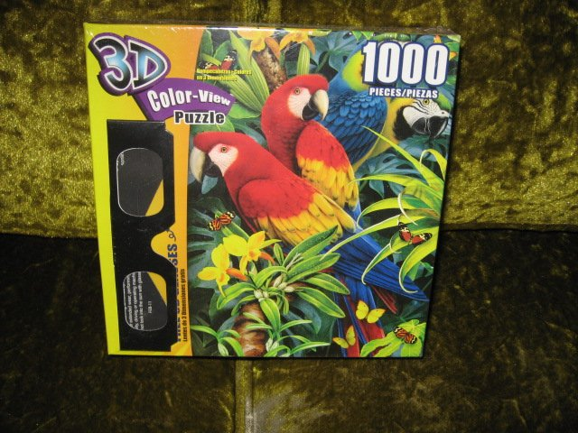 Image 1 of Majestic Macaws 3D Color view 1000 piece puzzle 20 X 27