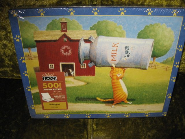 Image 0 of Cat Burglar 500 pc sealed Puzzle Ned Young artist new 18 by 24