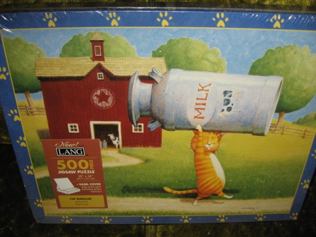 Image 1 of Cat Burglar 500 pc sealed Puzzle Ned Young artist new 18 by 24