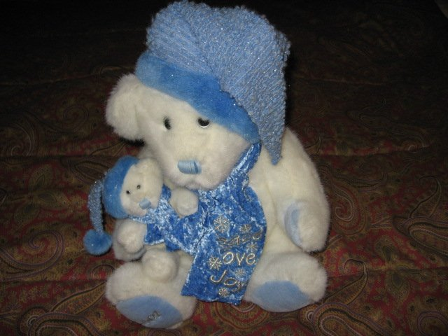 Image 1 of Christmas 2001 peace love joy bear doll with baby bear 14 inch