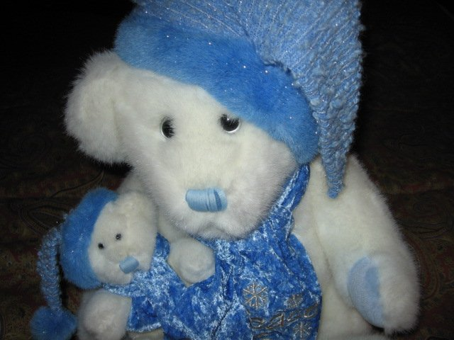 Image 2 of Christmas 2001 peace love joy bear doll with baby bear 14 inch