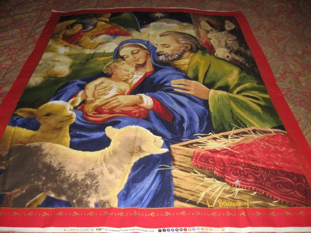 Christmas Jesus Nativity artist Laurie Cook Wall Fabric Panel to sew