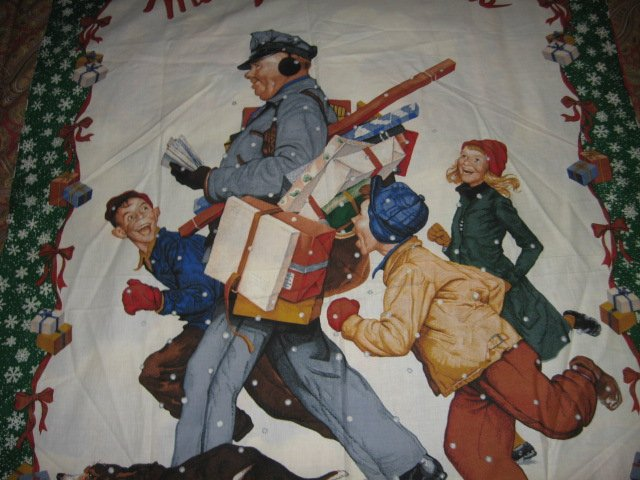 Christmas Postman Presents Norman Rockwell wall panel to sew /