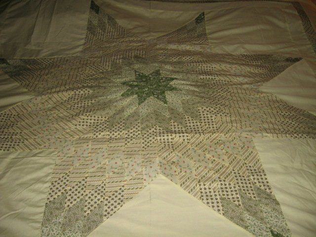 Image 0 of Exquisitely hand made Amish motif star and border yellow quilt top 6.5 by 8 feet