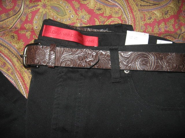 Image 0 of Gloria Vanderbilt Jeans mid-rise straight leg belt black size 18