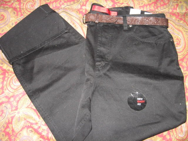 Image 2 of Gloria Vanderbilt Jeans mid-rise straight leg belt black size 18