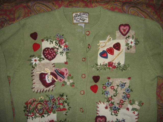 Image 0 of Valentine Heirloom Collectible  large knitted women sweater