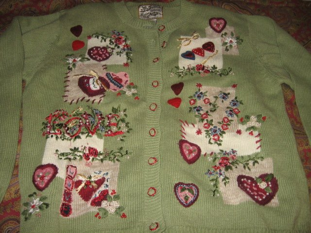 Image 1 of Valentine Heirloom Collectible  large knitted women sweater