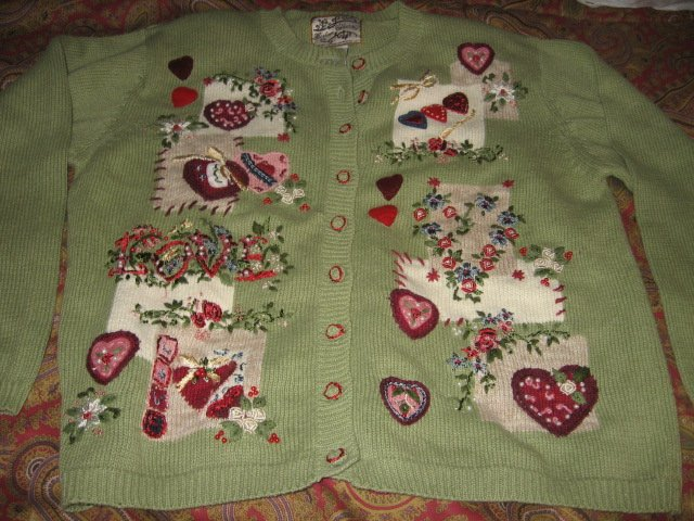 Image 2 of Valentine Heirloom Collectible  large knitted women sweater