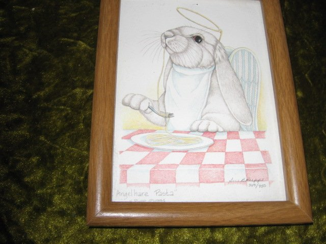 Angel Hare Pasta bunny rabbit pen and ink artwork Sue Rupp