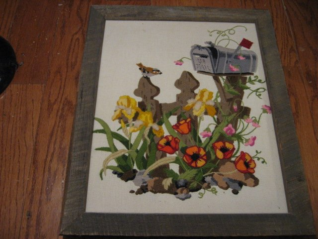 Mail Box and flowers embroidery  wood framed