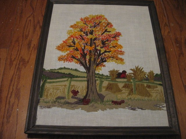 Fall scene tree and flowers  embroidery  wood framed