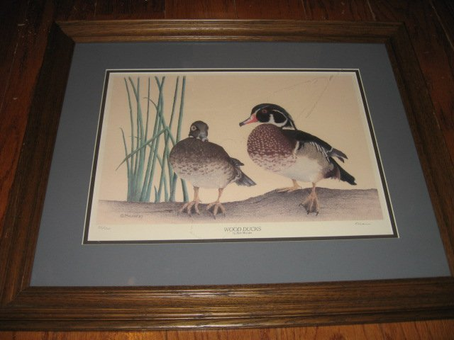 Wood Ducks picture reproduction framed signed numbered by Bob McLain