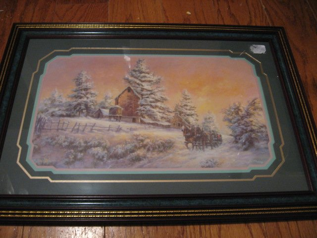 Winter farm victorian scene framed reproduction beautiful frame