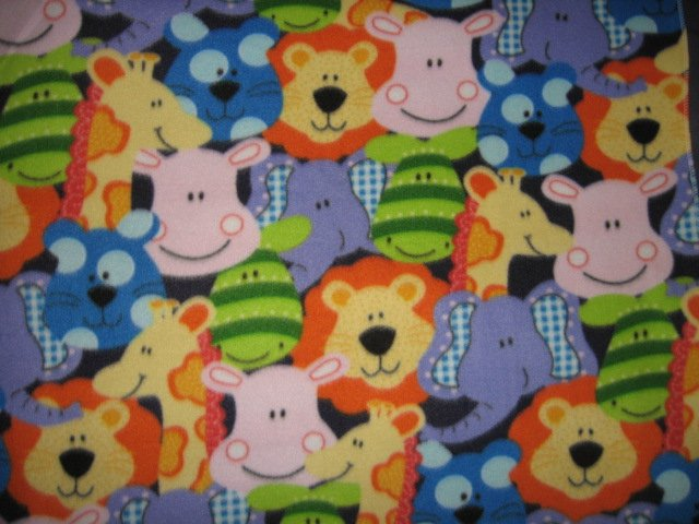 Image 0 of Jungle Animal Giraffe Lion Elephant baby blanket Handmade 30 by 37