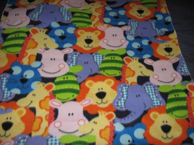 Image 1 of Jungle Animal Giraffe Lion Elephant baby blanket Handmade 30 by 37