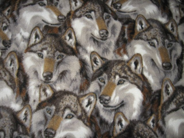 Image 0 of Wolf wolves faces collage overall  fleece blanket large 72 inch