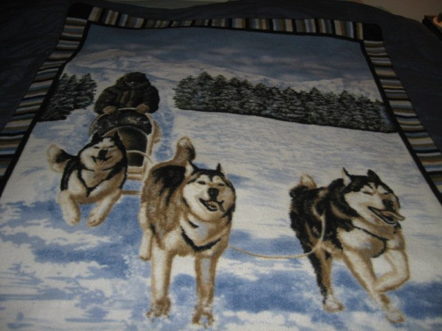 Image 1 of Husky dogs dogsled winter  Fleece blanket Antipill handmade