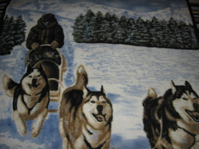 Image 2 of Husky dogs dogsled winter  Fleece blanket Antipill handmade