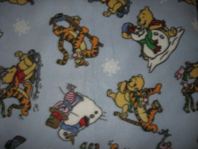 Image 0 of Pooh Tigger Piglet Winter scene Fleece Blanket 56 inch by 56 inch