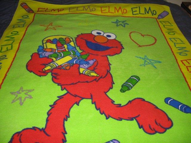 Image 0 of Elmo Sesame Street Crayon Child Fleece Blanket  RARE