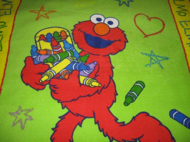 Image 1 of Elmo Sesame Street Crayon Child Fleece Blanket  RARE
