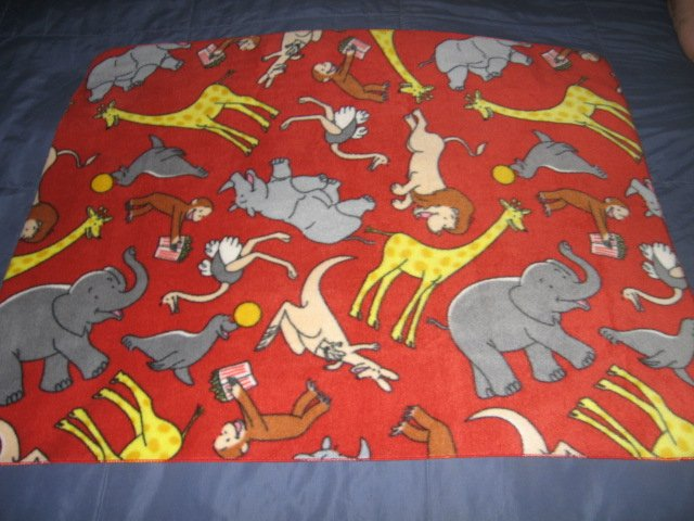 Curious George zoo popcorn hippo elephant  fleece child blanket
