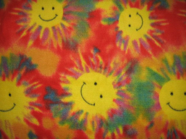 Image 0 of Smiley Face Sun Child bed size handmade fleece blanket 48
