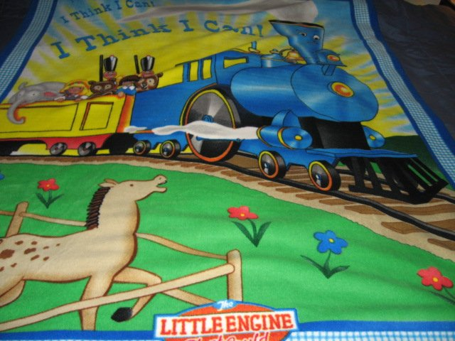 Image 1 of Little Engine That Could Child Bed size Fleece Blanket 48
